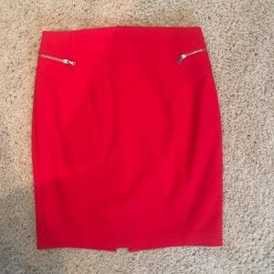 Express Poppy Red Pencil Skirt